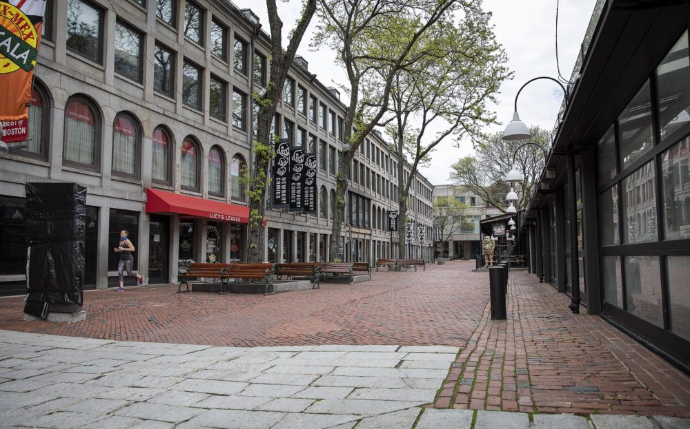 An empty Faneuil Hall on a Monday in May 2020 as the pandemic shut down most businesses. (Robin Lubbock/WBUR)