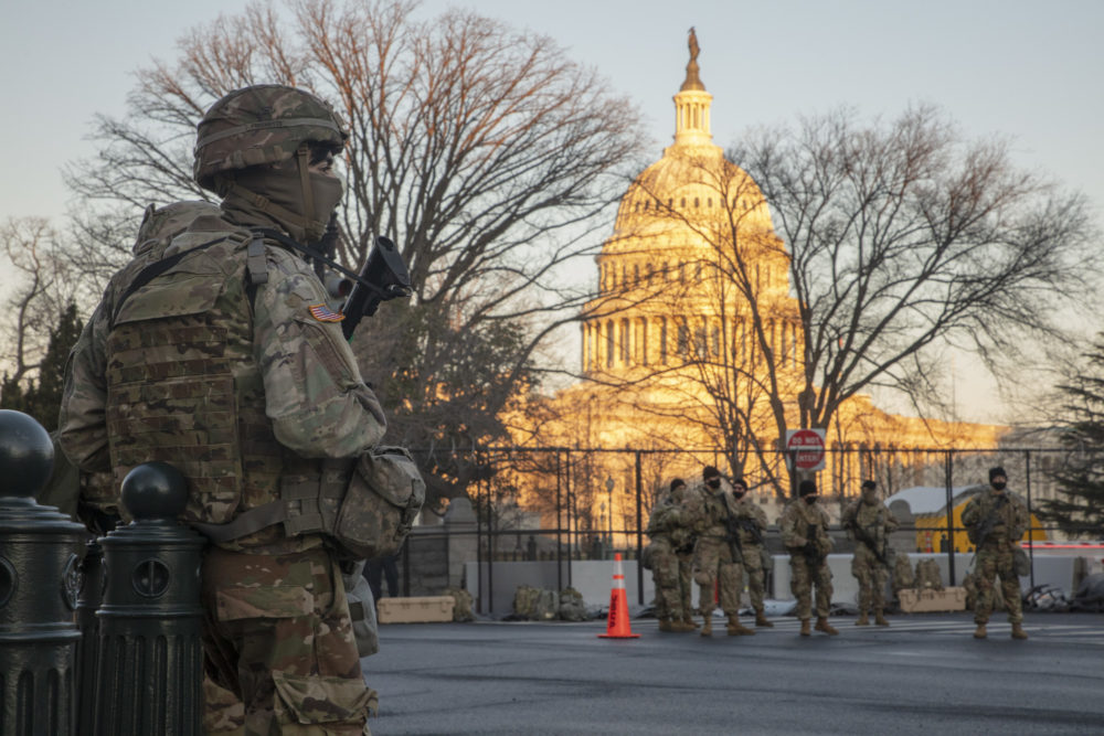 Soldiers and airmen from the Massachusetts National Guard in position in Washington D.C. on Inauguration Day to offer security support. (Courtesy Capt. Aaron Smith)
