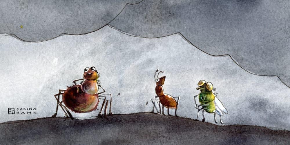 "(""Three Little Critters"" by Sabina Hahn)"