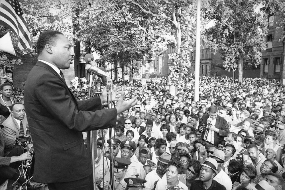 Martin Luther King Jr., during a speech in an undated photo. (AP Photo)