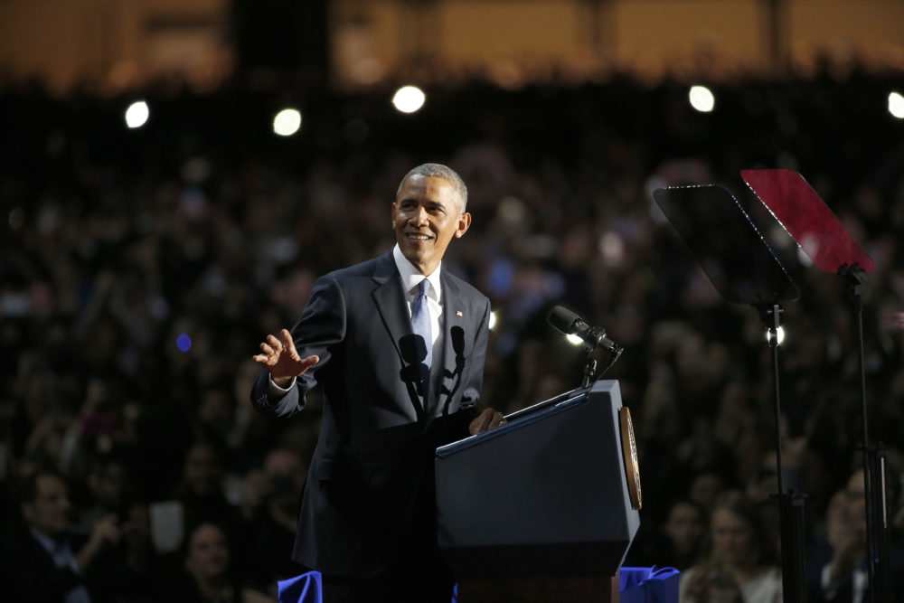 President Obama speaks at McCormick Place in Chicago, on Jan. 10, 2017, giving his presidential farewell address. (Nam Y. Huh/AP)