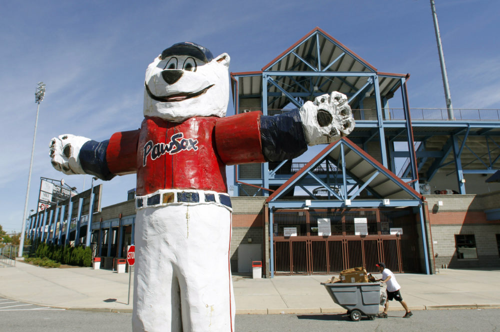 """In this Sept. 23, 2010 file photo, a statue of the Pawtucket Red Sox baseball team mascot """"Paws"""" stands outside McCoy Stadium, in Pawtucket, R.I.(Steven Senne/AP File)"""