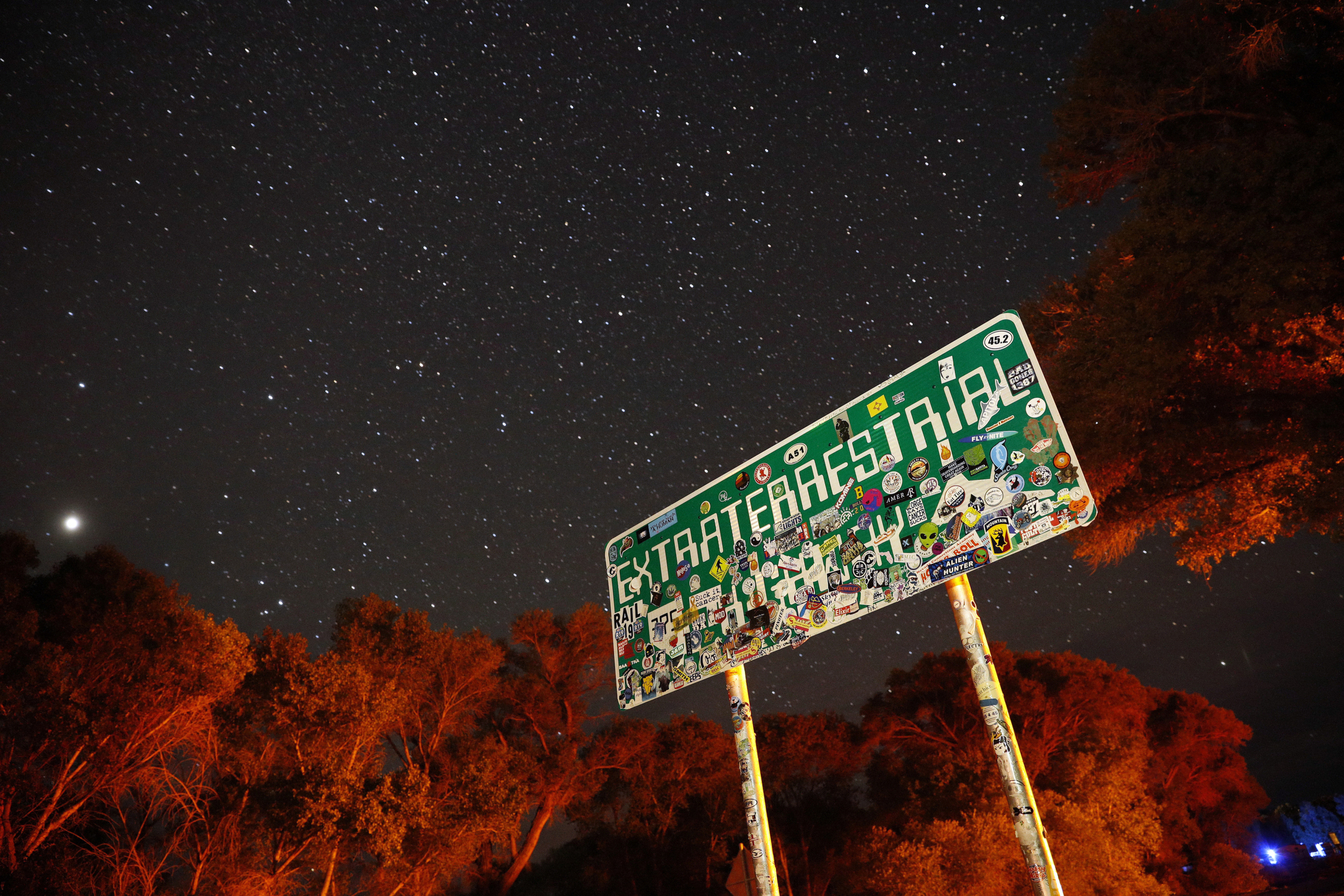 A sign advertises state route 375 as the Extraterrestrial Highway in Crystal Springs, Nev., on the way to Nevada Test and Training Range near Area 51. (John Locher/AP)