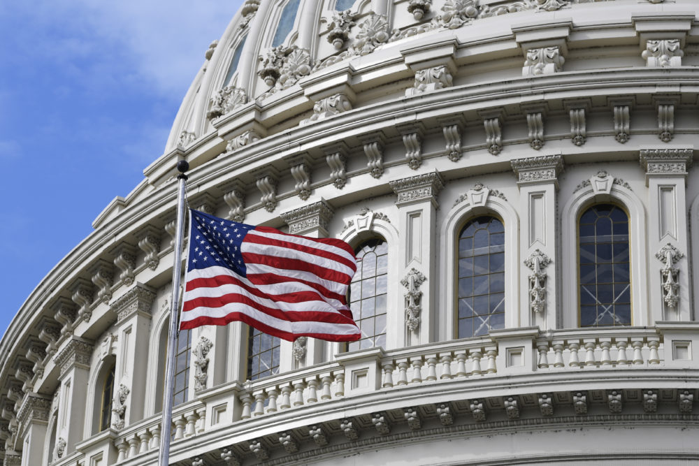 The American flag flies on Capitol Hill in Washington, Tuesday, March 17, 2020. (Susan Walsh/AP)