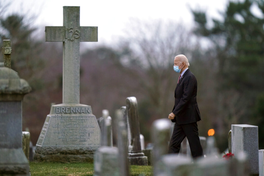 President-elect Joe Biden departs the St. Joseph on the Brandywine Catholic Church, Saturday, Jan. 16, in Wilmington, Del. (AP Photo/Matt Slocum)