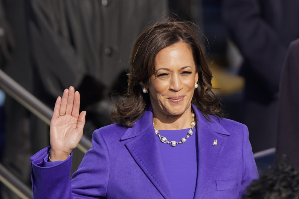 Kamala Harris is sworn in as vice president during the 59th Presidential Inauguration at the U.S. Capitol in Washington, Wednesday, Jan. 20, 2021. (Andrew Harnik/AP)