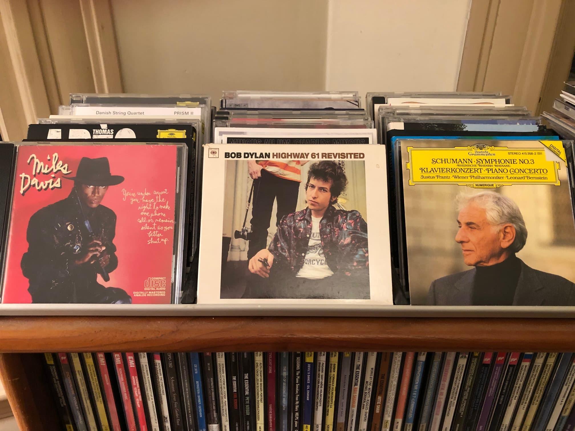 Ed Siegel's BFFs: Miles Davis, Bob Dylan and Leonard Bernstein. (Carol Towson for WBUR)