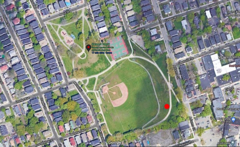 A modern aerial image of Ronan Park and the location of where the sinkhole opened. (City of Boston Archaeology Program)