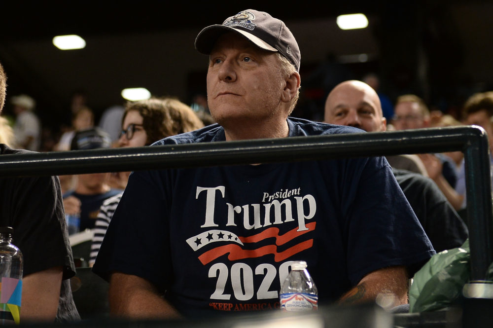 Curt Schilling watches the MLB game between the San Francisco Giants and Arizona Diamondbacks at Chase Field on August 3, 2018 in Phoenix, Arizona.  (Jennifer Stewart/Getty Images)