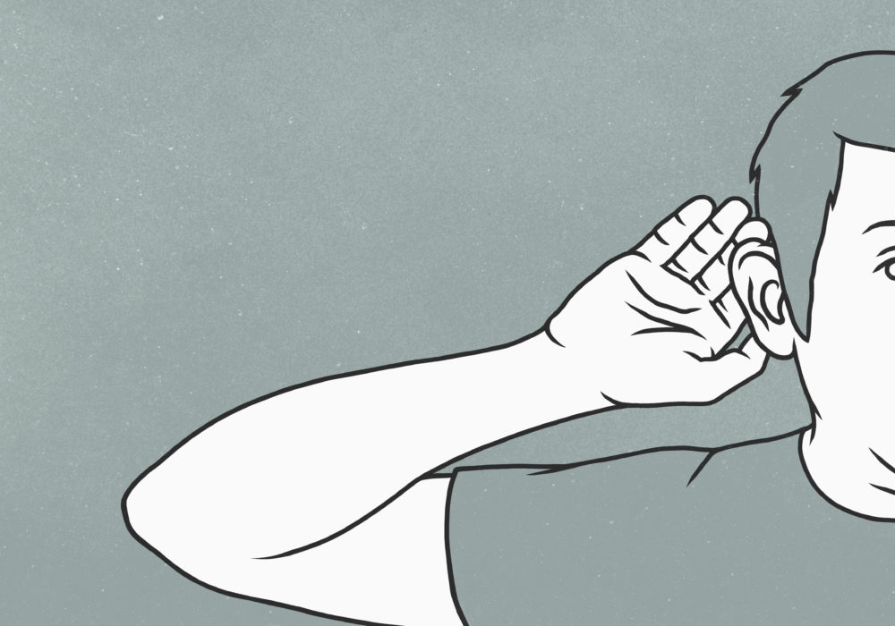 An illustration of a man cupping ear with hand. (Getty)