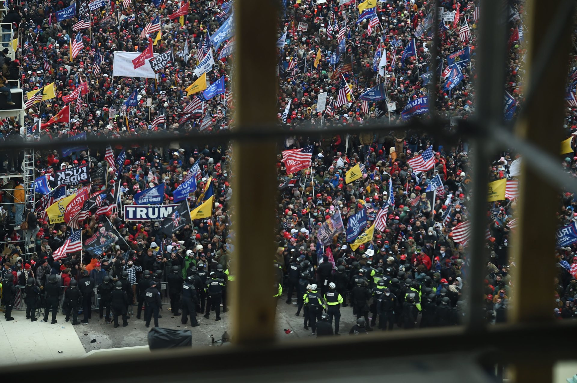 Supporters of President Donald Trump gather outside the Capitol's Rotunda. (Olivier Douliery/AFP via Getty Images)