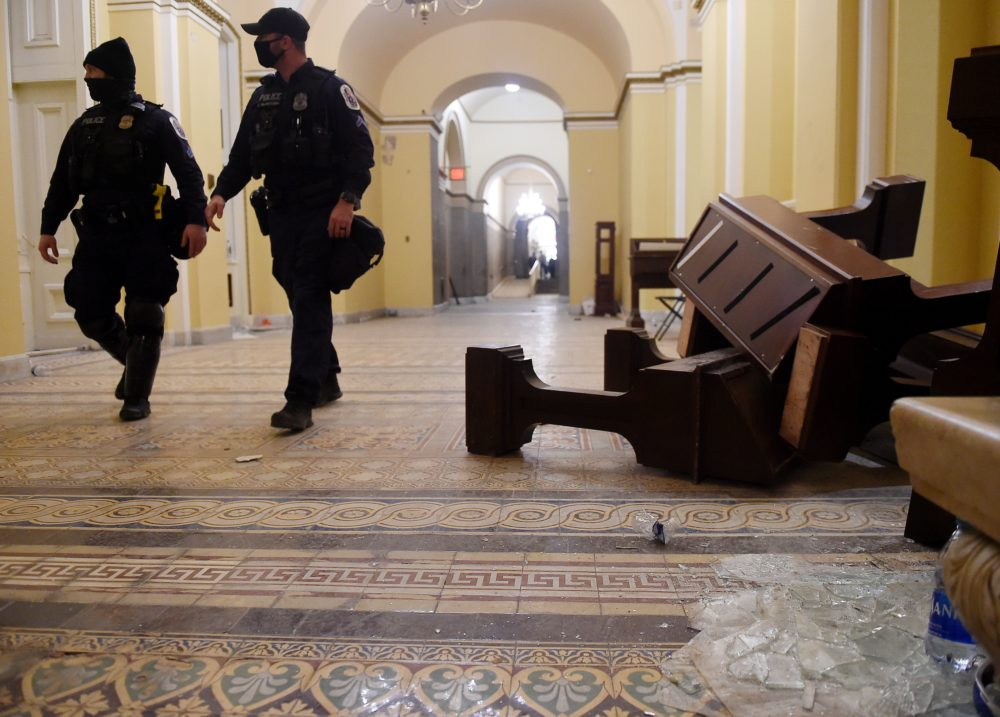 Damage is seen inside the Capitol building early on Jan. 7, 2021, in Washington, D.C., after supporters of President Trump breeched security and entered the building during a session of Congress. (Olivier Douliery/AFP/Getty Images)