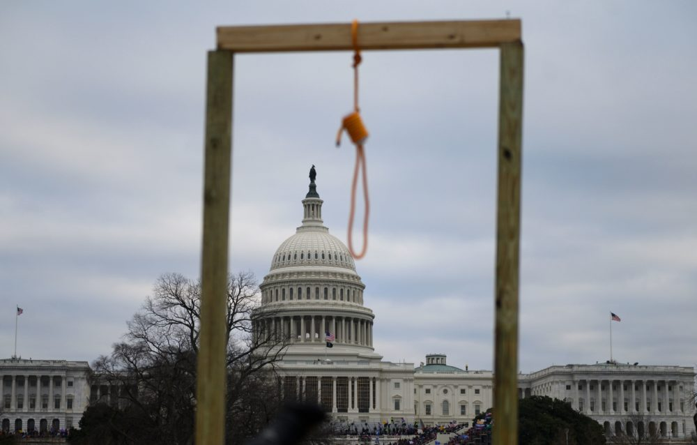 A noose is seen on makeshift gallows as supporters of US President Donald Trump gather on the West side of the US Capitol in Washington DC on January 6, 2021. (Andrew Caballero-Reynolds/AFP via Getty Images)