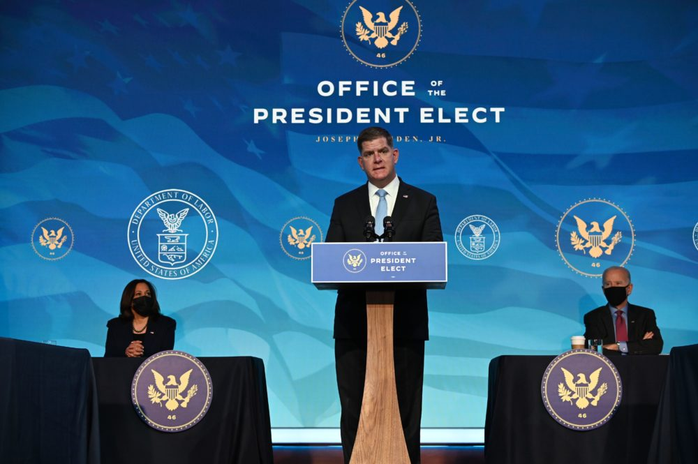 Boston Mayor Marty Walsh, nominee for Secretary of Labor, speaks after being nominated by President-elect Joe Biden at The Queen theater Jan. 8, 2021, in Wilmington, Delaware. (Jim Watson/AFP via Getty Images)