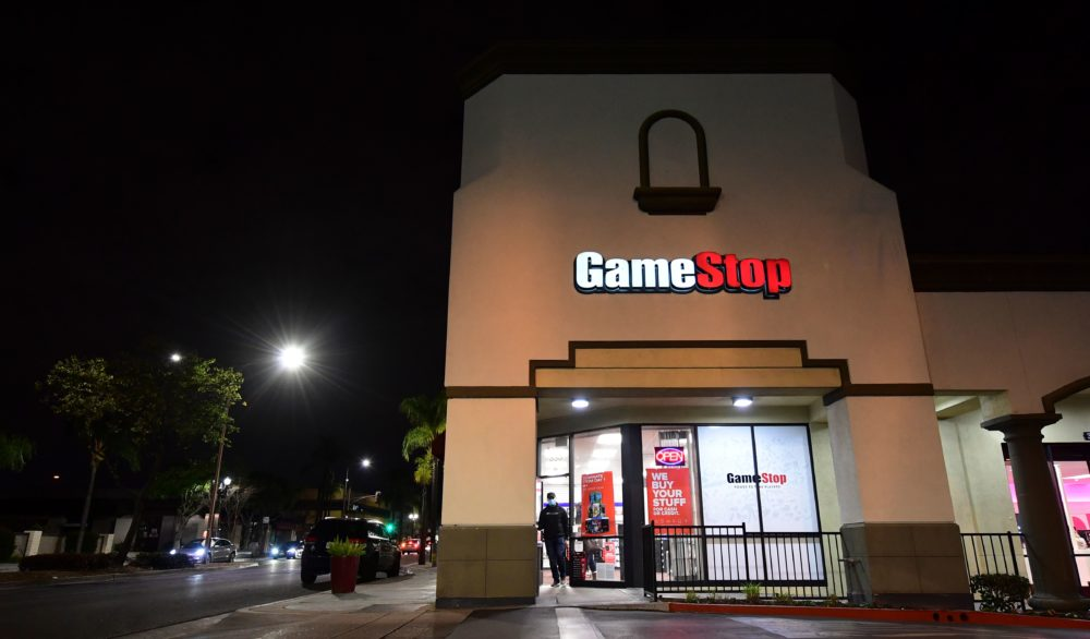 A man steps out of a GameStop store in Alhambra, California on Jan. 27, 2021. An epic battle is unfolding on Wall Street, with a cast of characters clashing over the fate of GameStop, a struggling chain of video game retail stores. (Frederic J. Brown/AFP via Getty Images)