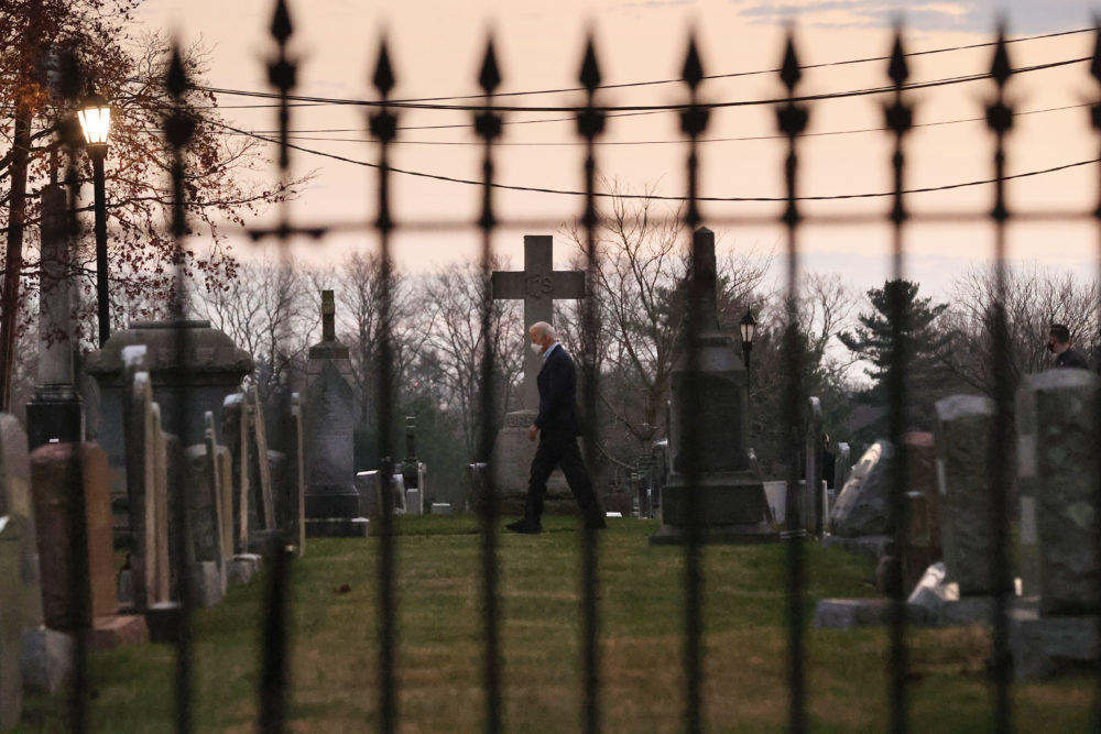 U.S. President-elect Joe Biden leaves after attending services at St. Joseph on the Brandywine Roman Catholic Church December 12, 2020 in Wilmington, Delaware. (Chip Somodevilla/Getty Images)