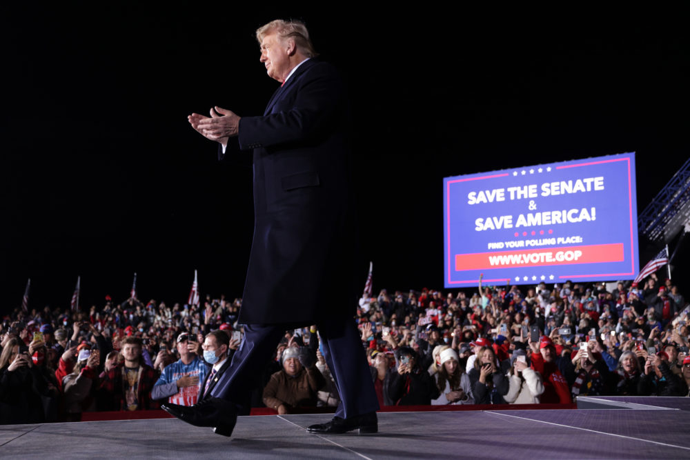 U.S. President Donald Trump arrives at a Republican National Committee Victory Rally at Dalton Regional Airport January 4, 2021 in Dalton, Georgia. (Alex Wong/Getty Images)