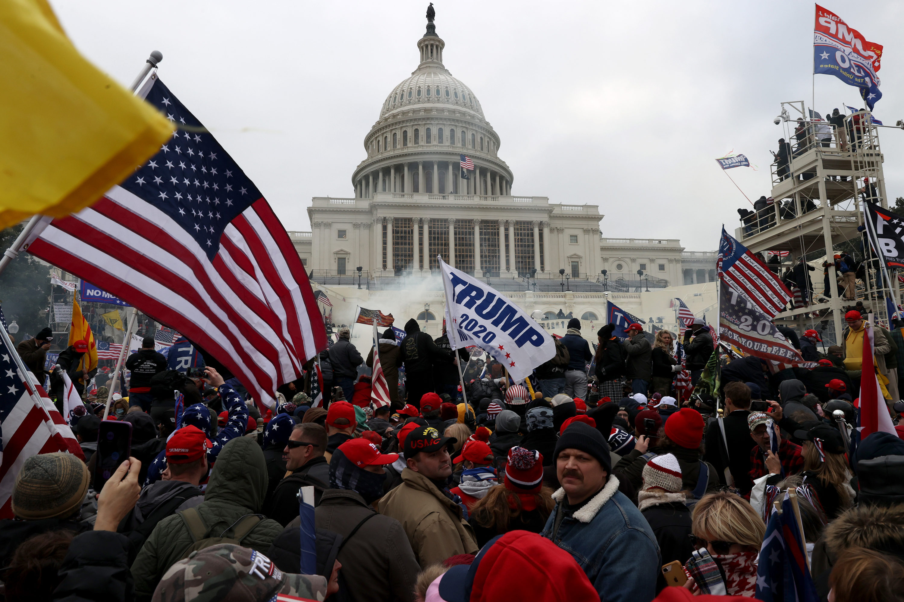 Far-right Trump supporters gather outside the U.S. Capitol Building on January 06, 2021 in Washington, DC. (Tasos Katopodis/Getty Images)