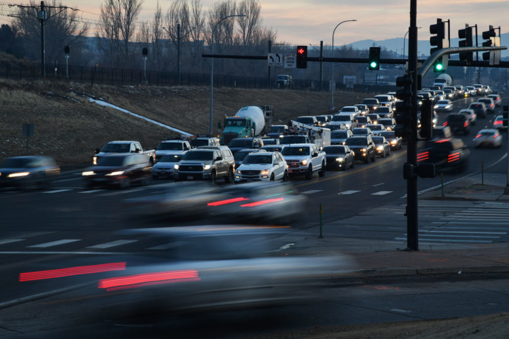 Photo taken late afternoon traffic of West Mineral Ave. and South Santa Fe Dr. intersection in Littleton, Colorado on Thursday. January 28, 2021. (Hyoung Chang/MediaNews Group/The Denver Post via Getty Images)