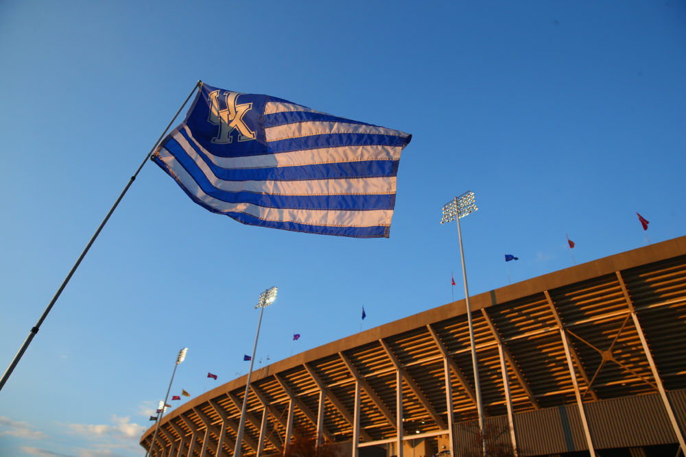 A flag flying at Kroger Field, formerly known as Commonwealth Stadium, on the campus of the University of Kentucky, Lexington, Kentucky.  (Andy Lyons/Getty Images)