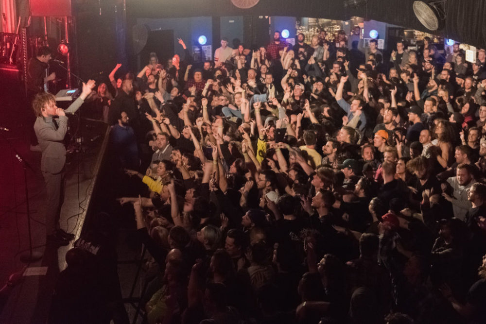 Rou Reynolds of Enter Shikari performs at Metro on Feb. 9, 2018, in Chicago, Illinois.  (Daniel Boczarski/Redferns)