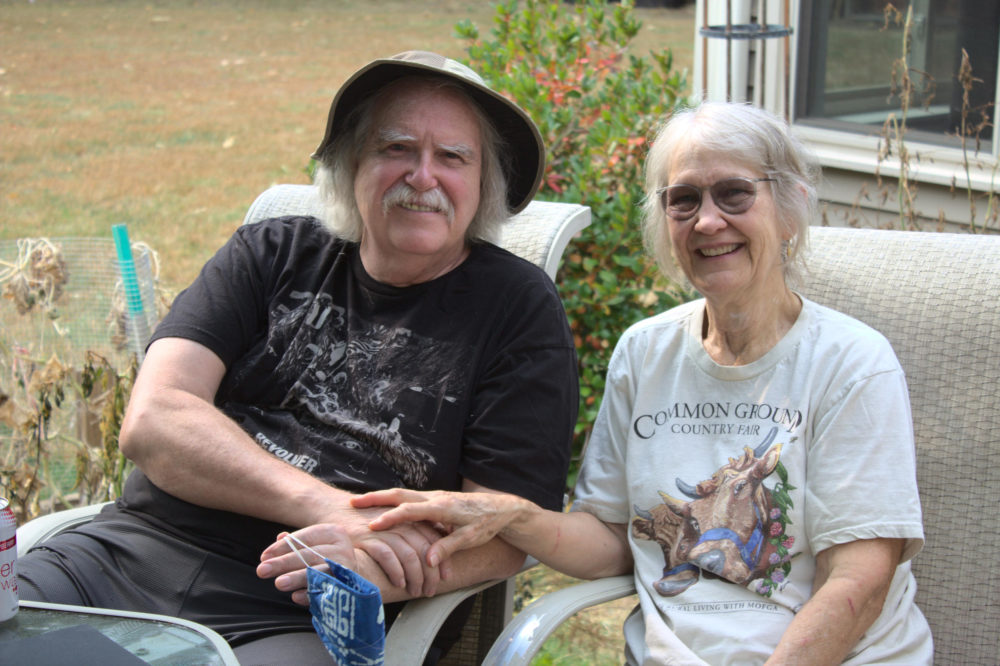 Doug and Judith Saum are two of New Hampshire's climate migrants. They relocated from Reno, Nevada to Rumney to escape the health effects of increasing Western wildfires.(Annie Ropeik/NHPR)