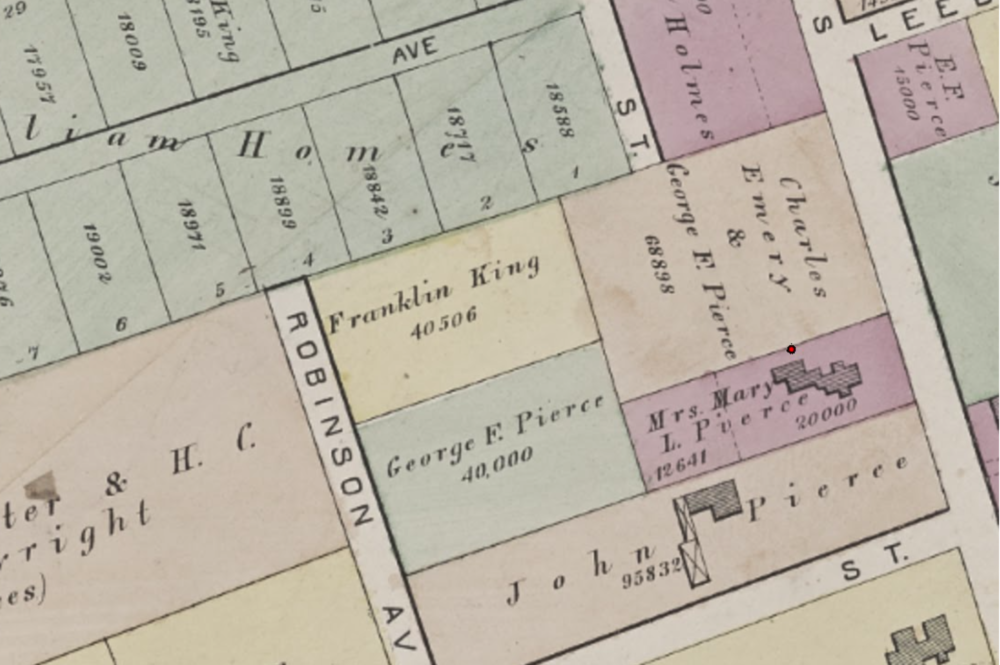 An 1874 drawing from Hopkins Atlas shows Mary Pierce owning the house. The red dot indicates where the well was found. (City of Boston Archaeology Program)