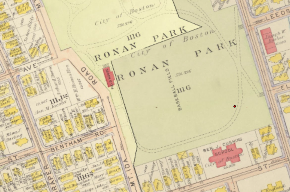 A drawing from the G. W. Bromley Atlas showing Ronan Park soon after it was created. The red dot indicates the location of the well on this map. (City of Boston Archaeology Program)