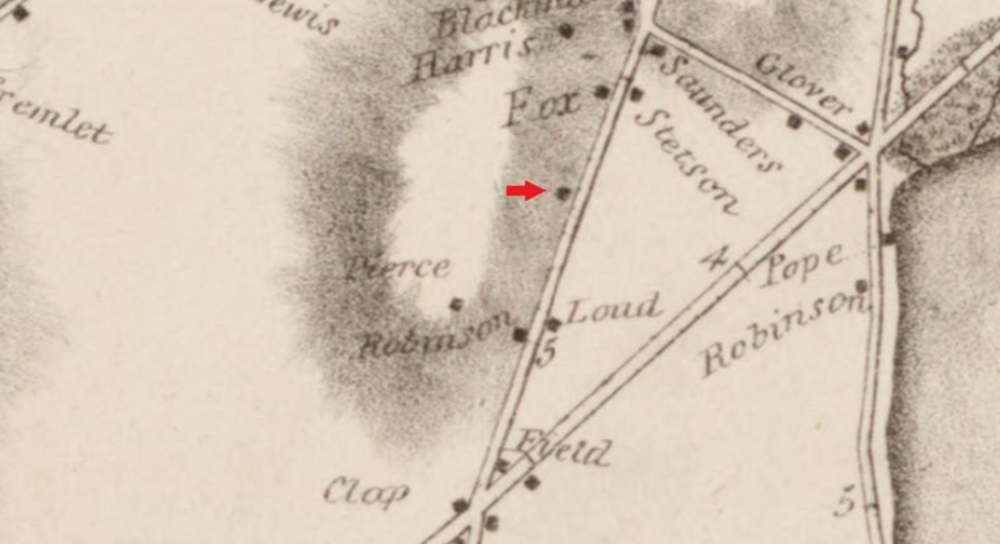 An 1831 map of Dorchester shows an undeveloped area where John Pierce would later build a house. That patch of land, located at 151 Adams St., is where the sinkhole in Ronan Park is. (City of Boston Archaeology Program)