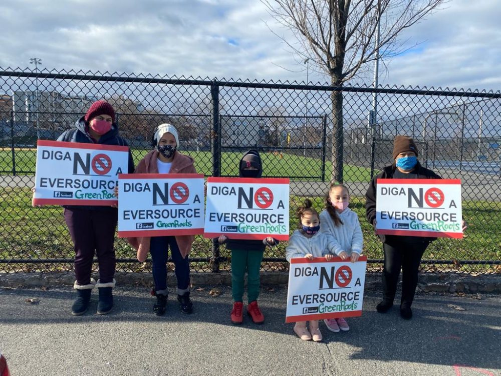 Residents of East Boston and Chelsea protest near the site of the proposed electrical substation in December. (Courtesy GreenRoots)