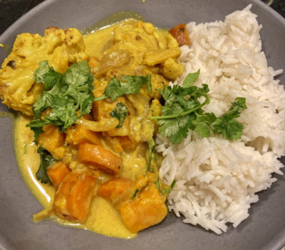 Roasted Cauliflower, Carrot And Sweet Potato In Spiced Coconut Milk (Kathy Gunst)