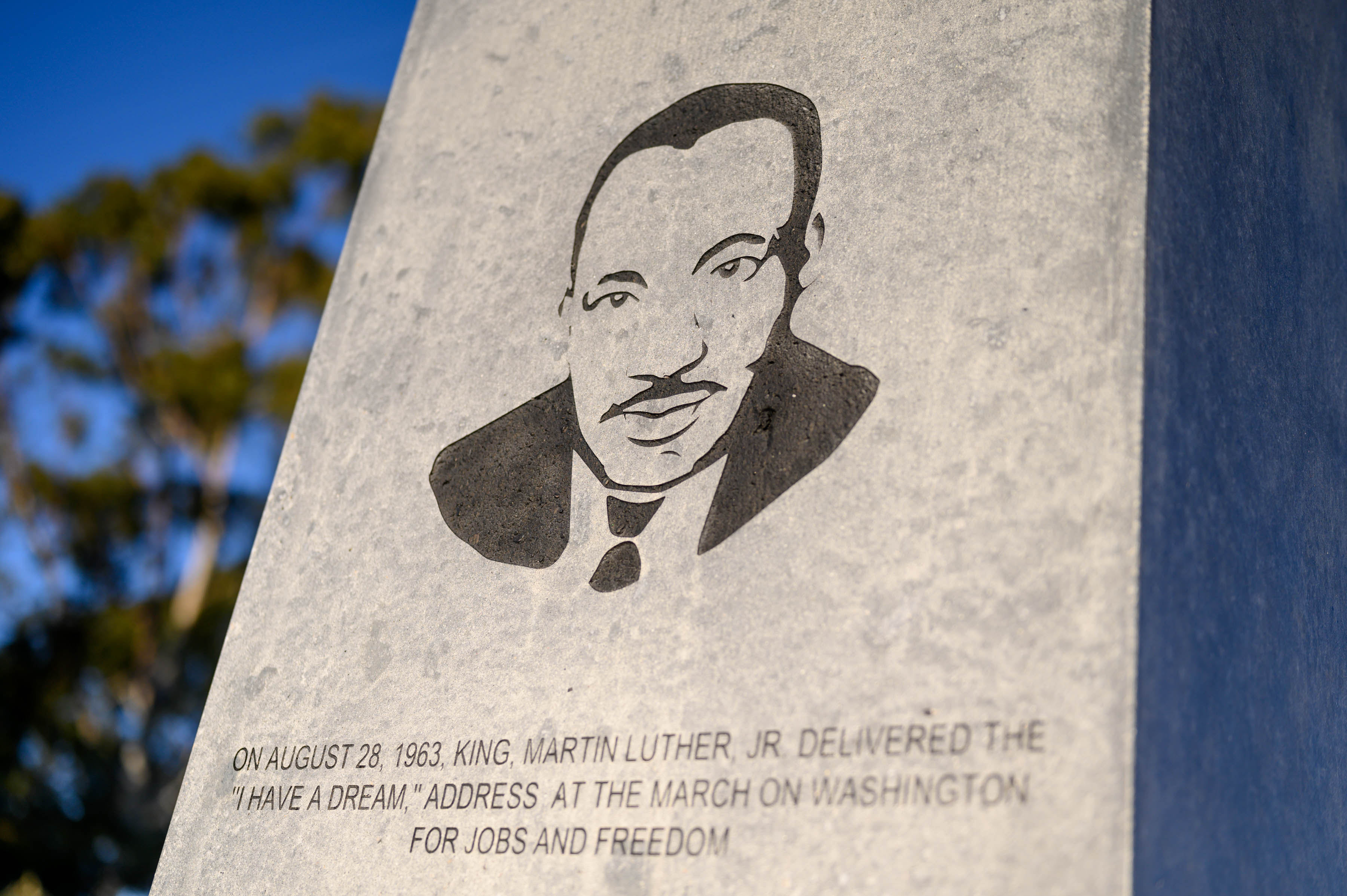The obelisk at the Dr. Martin Luther King Jr. Memorial Tree Grove is seen at Kenneth Hahn State Recreation Area on Jan. 17 in Los Angeles, California. (Emma McIntyre/Getty Images)