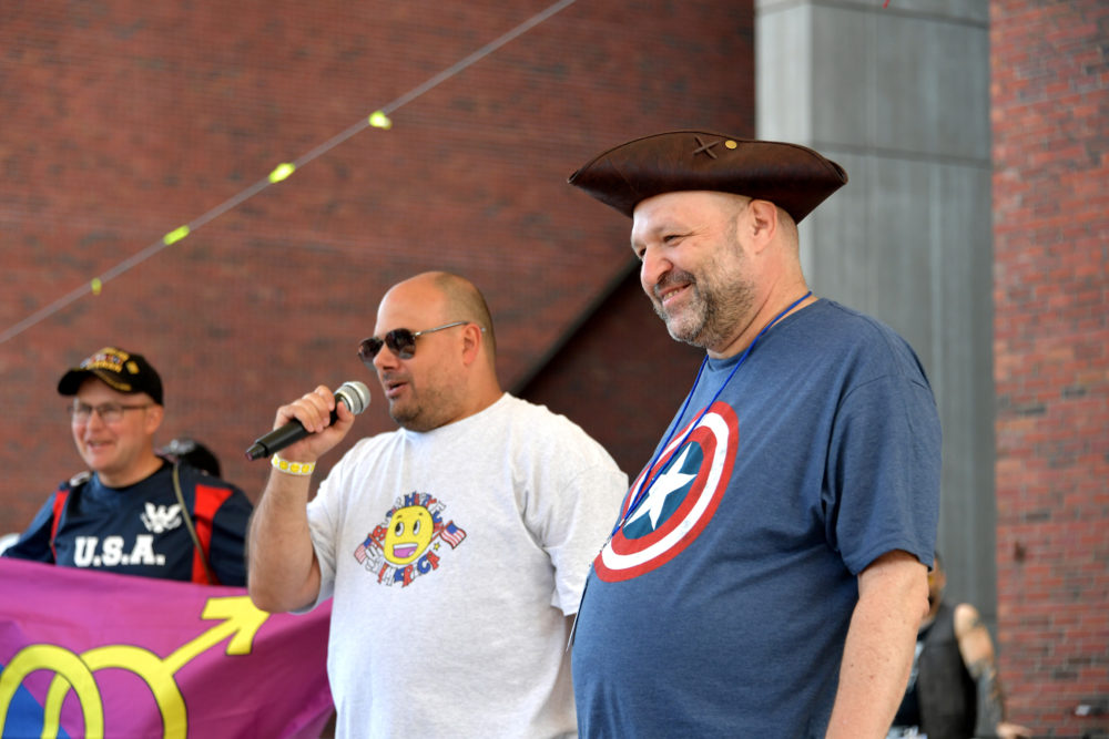 Mark Sahady, center, and John Hugo, right, are seen at the Boston Straight Pride Parade and Rally organized by Super Happy Fun America on Aug. 31, 2019 in Boston. (Paul Marotta/Getty Images)