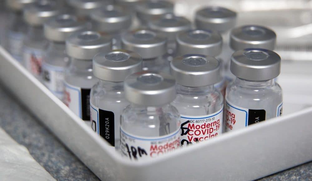 COVID-19 vaccine vials. (Robin Lubbock/WBUR)
