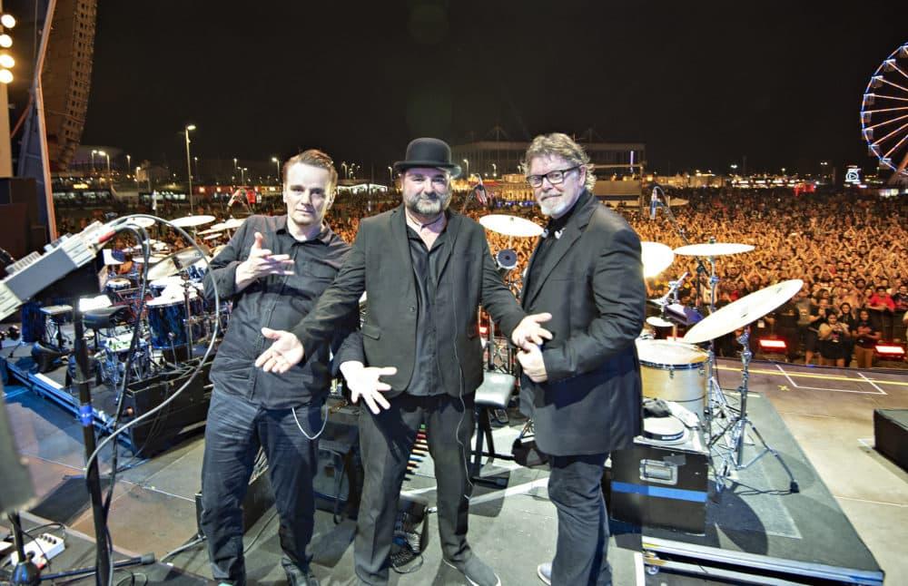 Left to right: Gavin Harrison, Jeremy Stacey and Pat Mastelotto of King Crimson. (Courtesy Tony Levin)