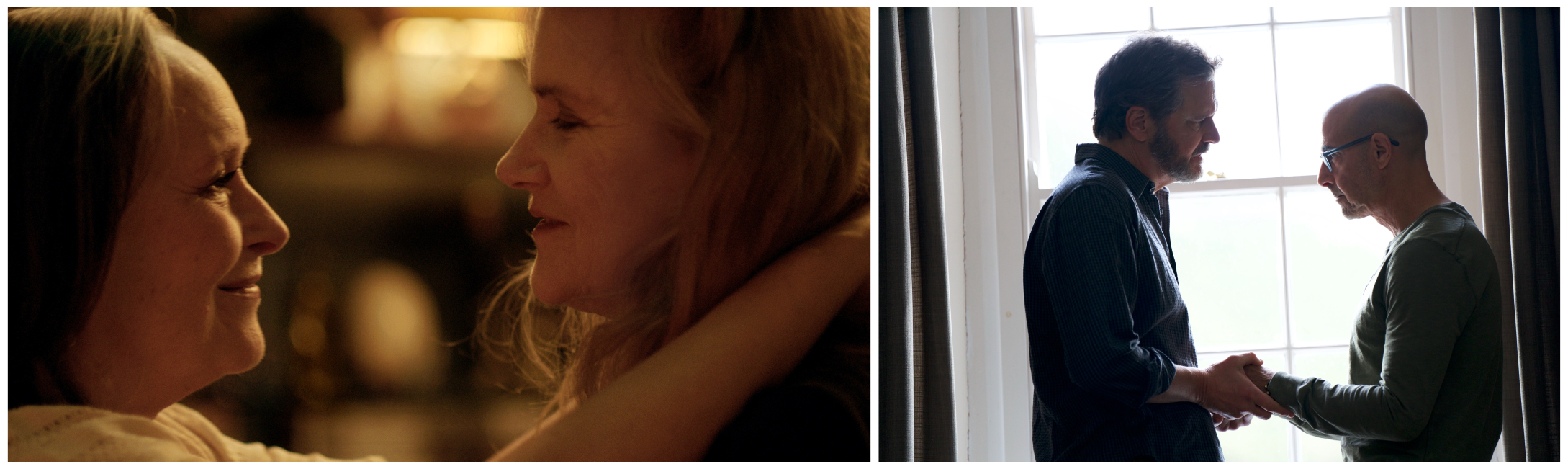 """Left image: A still from """"Two of Us."""" (Courtesy Magnolia Pictures) Right image: A still from  """"Supernova."""" (Courtesy Bleecker Street Media)"""