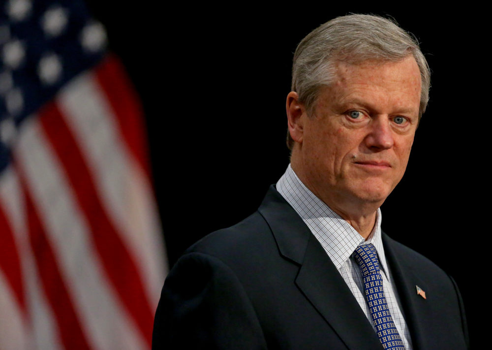 Gov. Charlie Baker speaks at a press conference at the State House on Feb. 8.  (Matt Stone/ Boston Herald, pool)