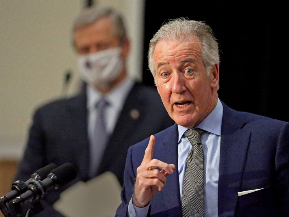 U.S. House Ways and Means Committee Chairman Richard Neal speaks at a press conference with Gov. Charlie Baker on Feb. 8.  (Matt Stone/ Boston Herald, via pool)