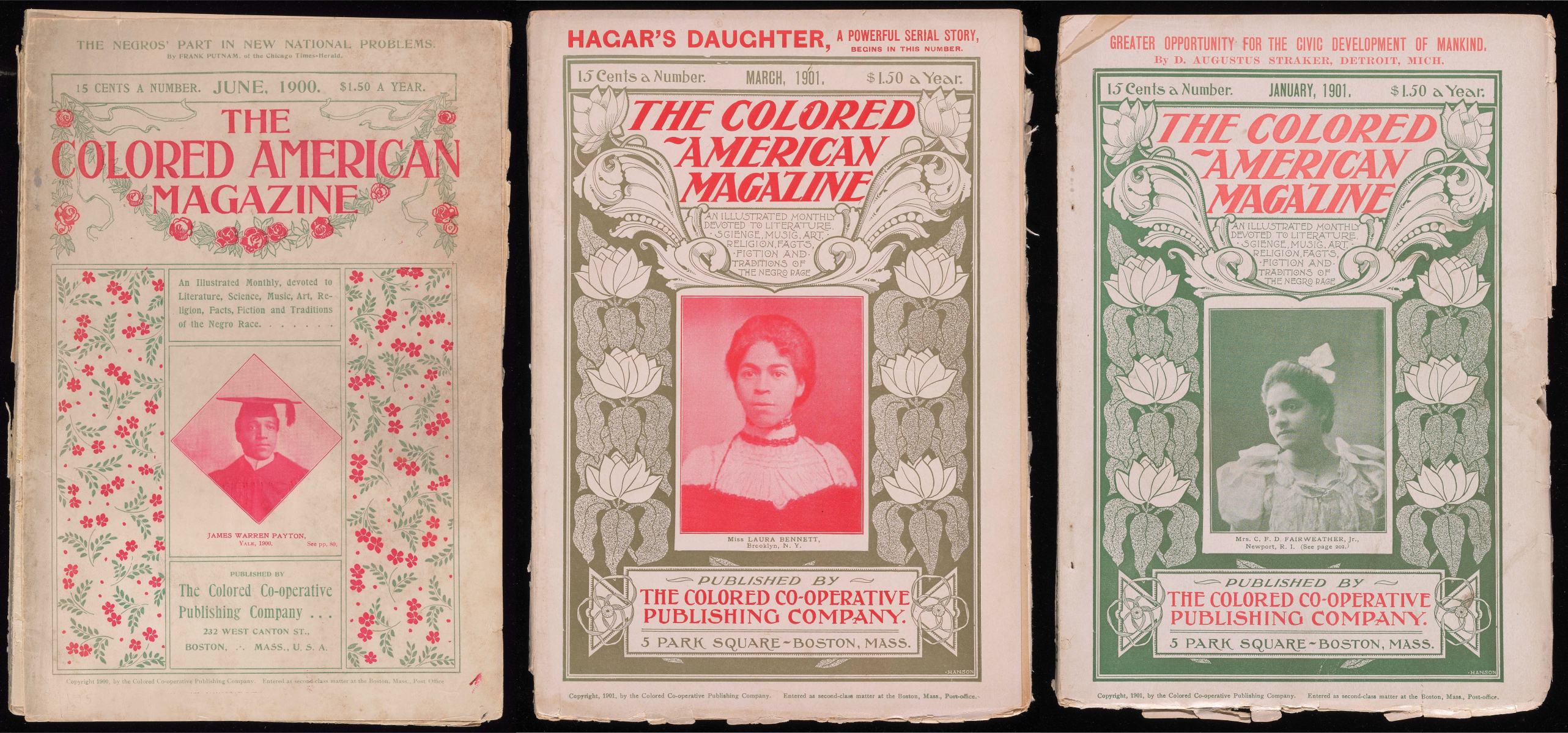 Covers of The Colored American Magazine, reproduced from The Digital Colored American Magazine, coloredamerican.org. Original held at the Beinecke Rare Book and Manuscript Library, Yale University.