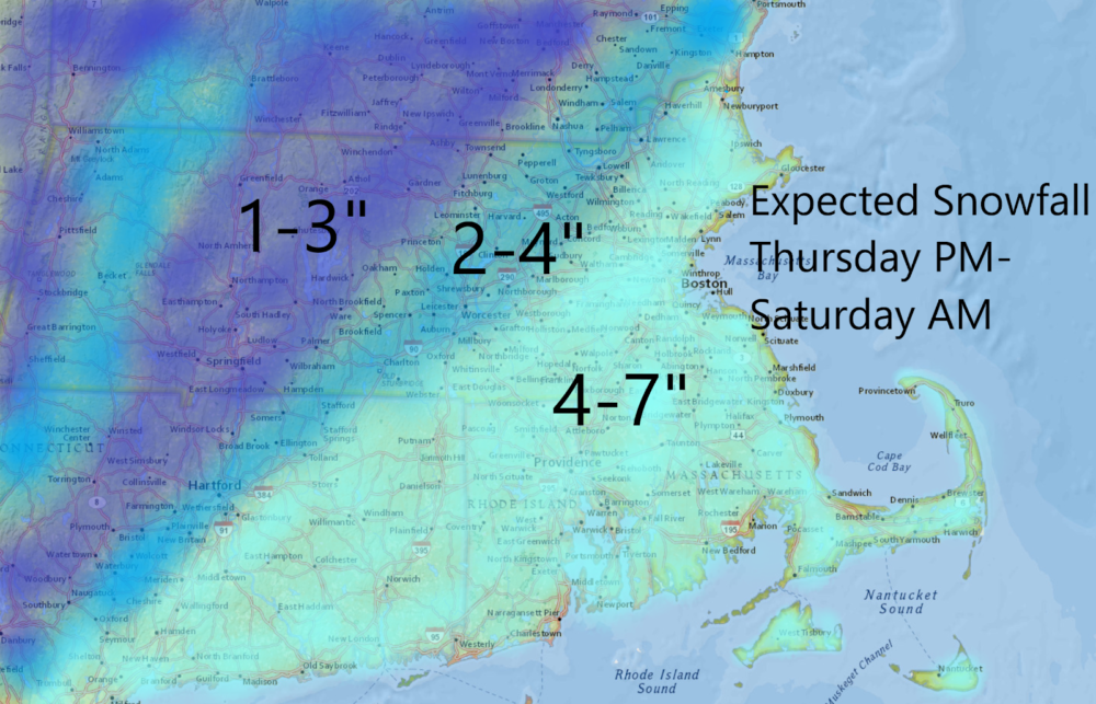 Snow could pile up to near 7 inches over the next couple of days in some areas. (Dave Epstein/WBUR)