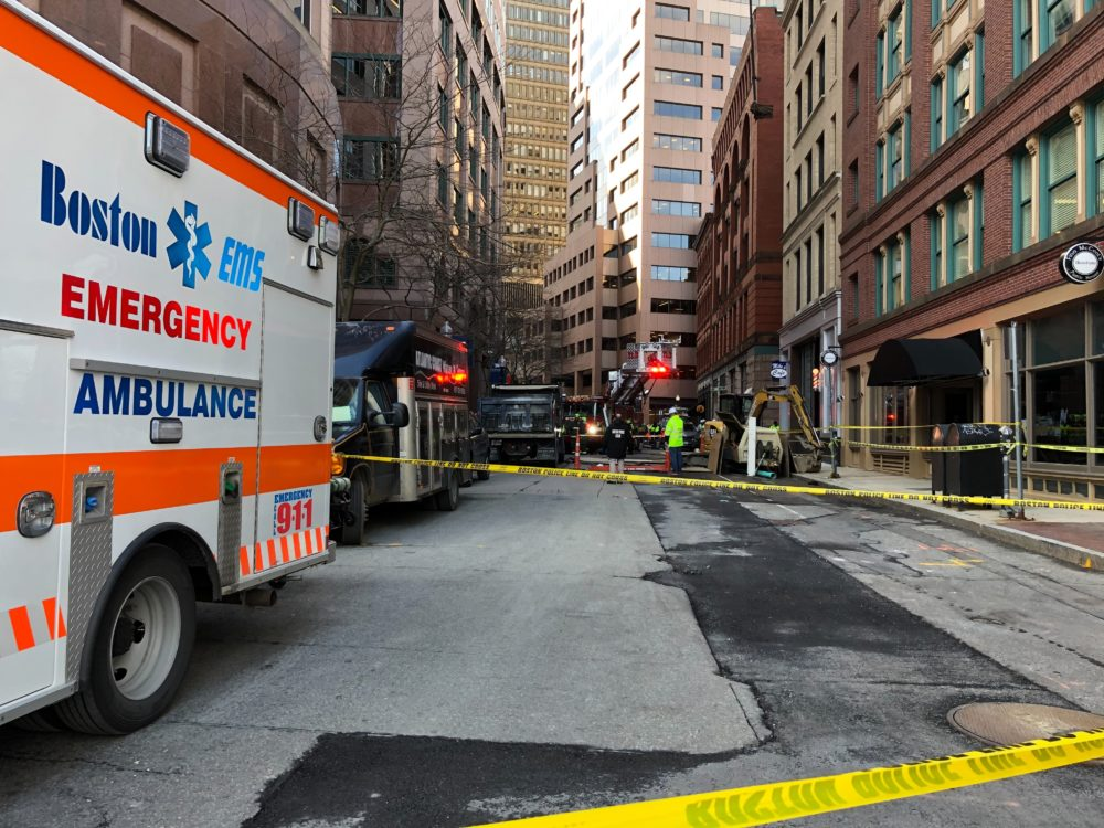 The site where two people died when they were struck by a truck at a construction site in February 2021 in downtown Boston. (Quincy Walters/WBUR)