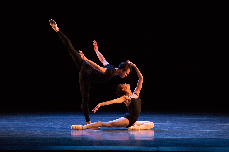 """Lia Cirio and Paulo Arrais in Jorma Elo's """"Bach Cello Suites."""" (Courtesy Rosalie O'Connor/Boston Ballet)"""