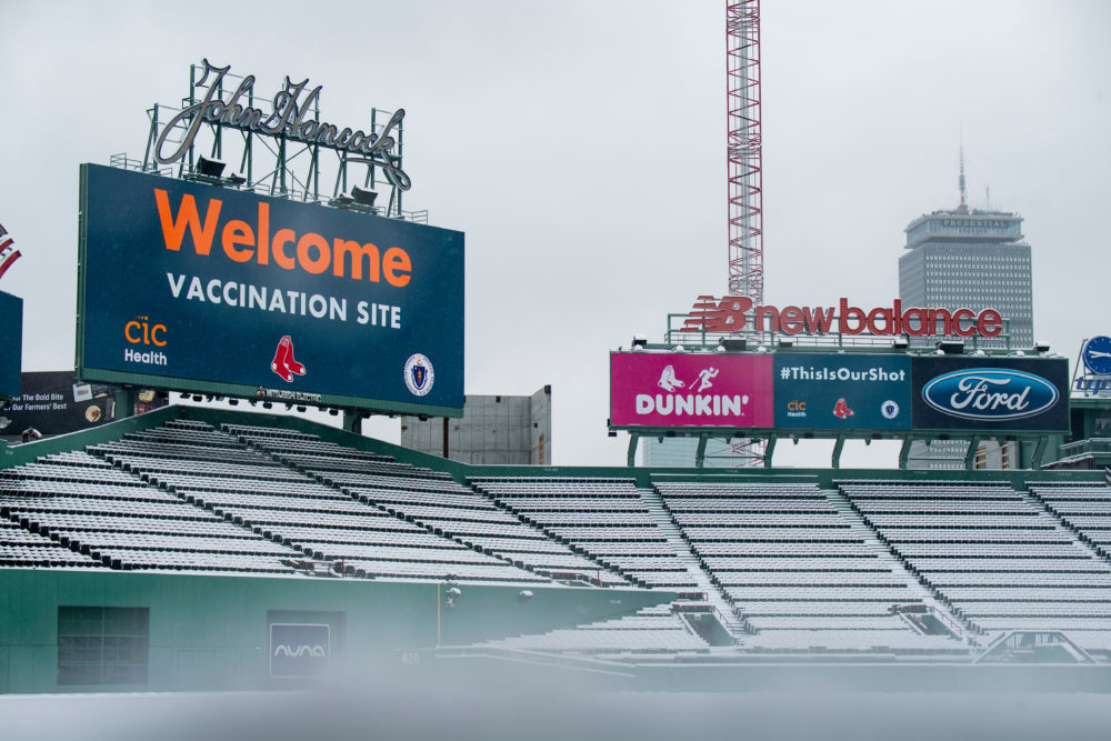 Fenway's scoreboard turned over to designate its use as a mass vaccination site, as seen on Jan. 27. (Courtesy Billie Weiss/Boston Red Sox)
