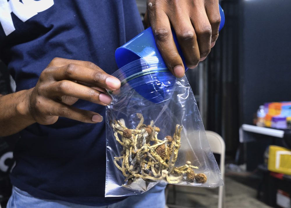 A vendor bags psilocybin mushrooms at a pop-up cannabis market in Los Angeles. Cambridge has signaled its support to decriminalize psilocybin and most other psychedelics. (Richard Vogel/AP)
