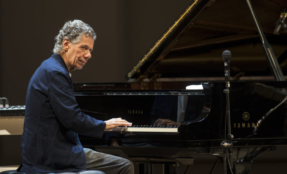 Chick Corea performs with Eddie Gomez and Brian Blade perform during their concert in Moscow, Russia, on May 15, 2017. Corea, a towering jazz pianist with a staggering 23 Grammy awards who pushed the boundaries of the genre and worked alongside Miles Davis and Herbie Hancock, has died. He was 79.  (Alexander Zemlianichenko Jr./AP File)