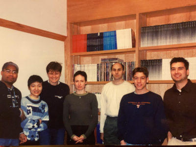 From the photo album of author David Scales (second from right), the 2001 lab team that included Katalin Karikó (third from left.)