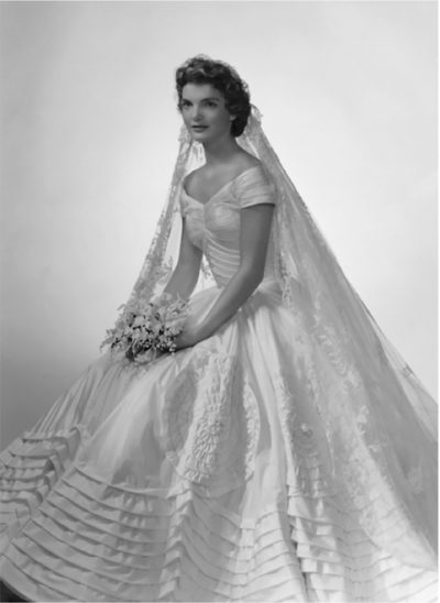 Photo of Jacqueline Kennedy in her wedding gown, December 1966 issue of Ebony Magazine. Designed by Anne Cole Lowe. (Courtesy of EDGE)