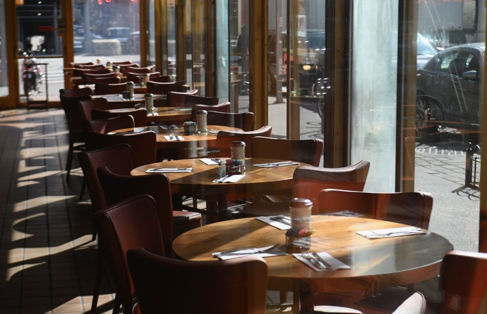 View of an empty restaurant. (Angela Weiss/AFP via Getty Images)