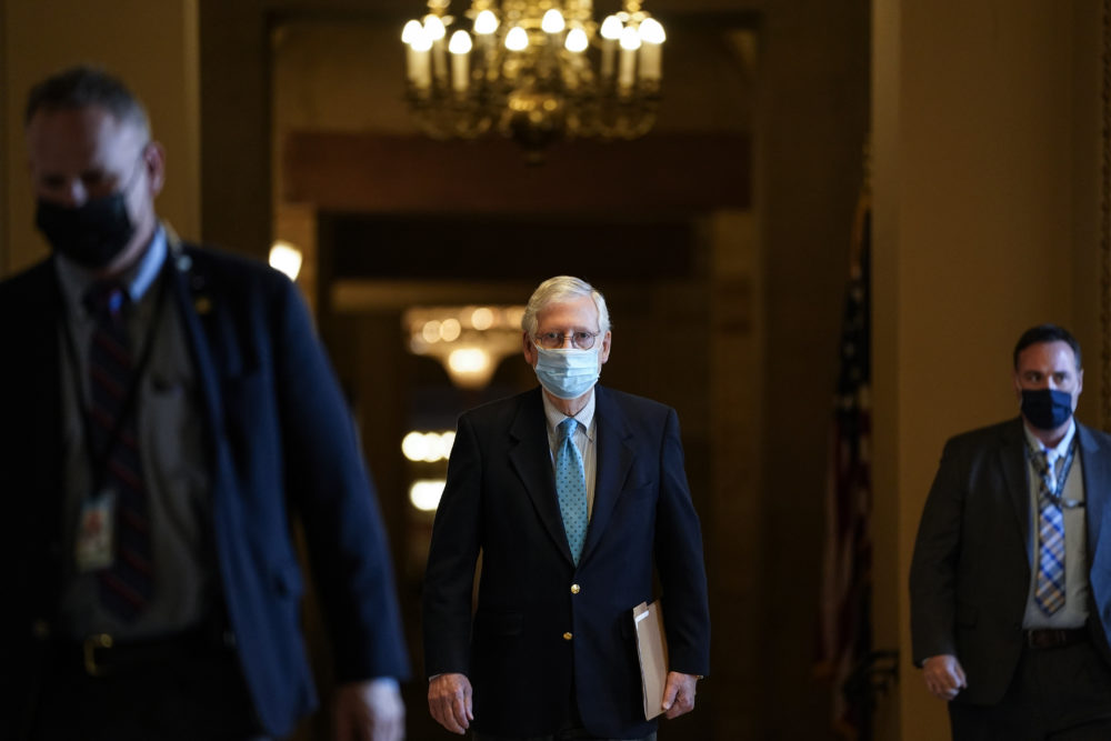 Senate Minority Leader Mitch McConnell (R-KY) leaves his office and walks to the Senate floor at the U.S. Capitol on February 8, 2021 in Washington, DC.  (Drew Angerer/Getty Images)