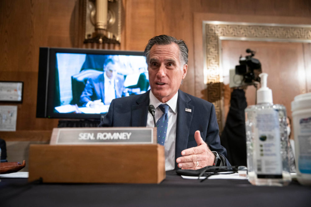 Sen. Mitt Romney (R-UT) questions Xavier Becerra, nominee for Secretary of Health and Human Services (HHS), at his confirmation hearing before the Senate Health, Education, Labor and Pensions Committee on February 23, 2021 in Washington, DC. (Sarah Silbiger/Getty Images)